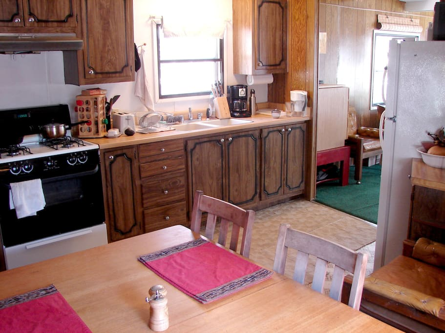 The kitchen is fully equipped and used frequently. I encourage you to bring a lot to cook and eat at home.