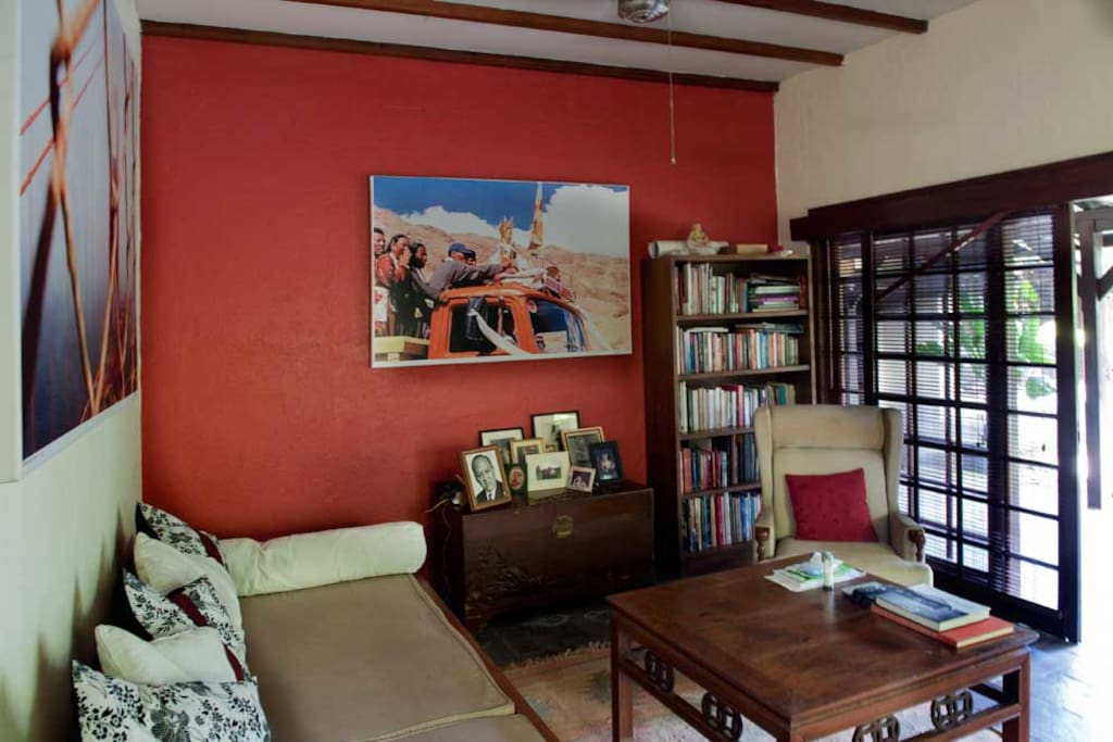 The living room has books and cable television. Fan or air conditioning. (shared space)