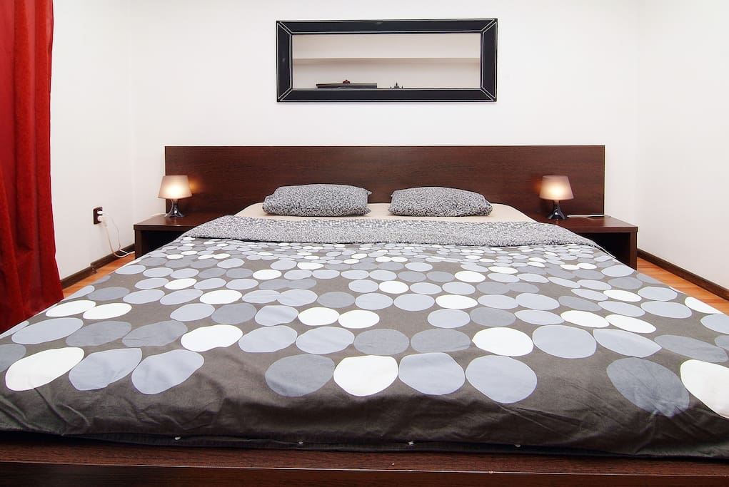The bed of studio apartment