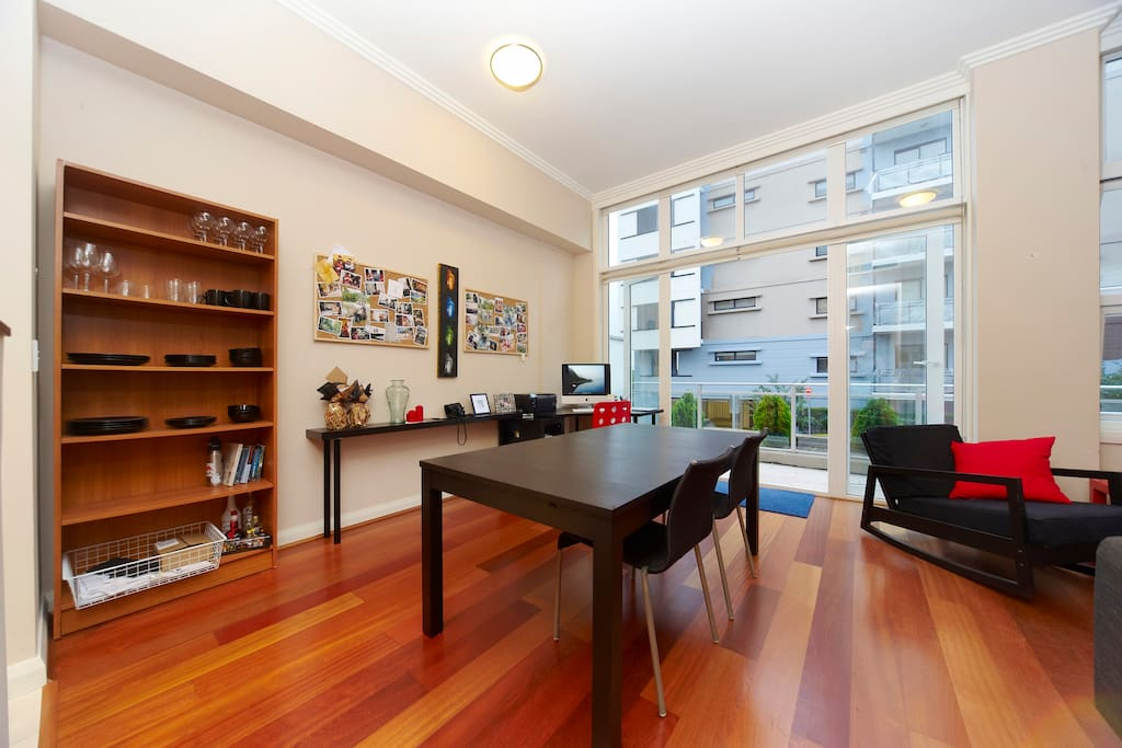 Dining room opens onto balcony with beautiful views of the Parramatta River