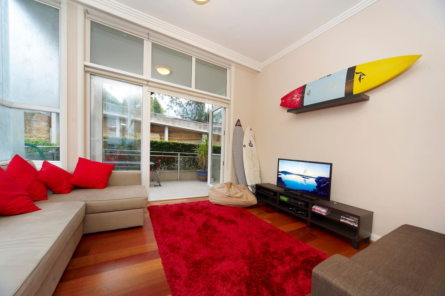 Enjoy the LED TV and all the perks: appleTV, Fetch, a DVD player and Xbox! Make yourself at home