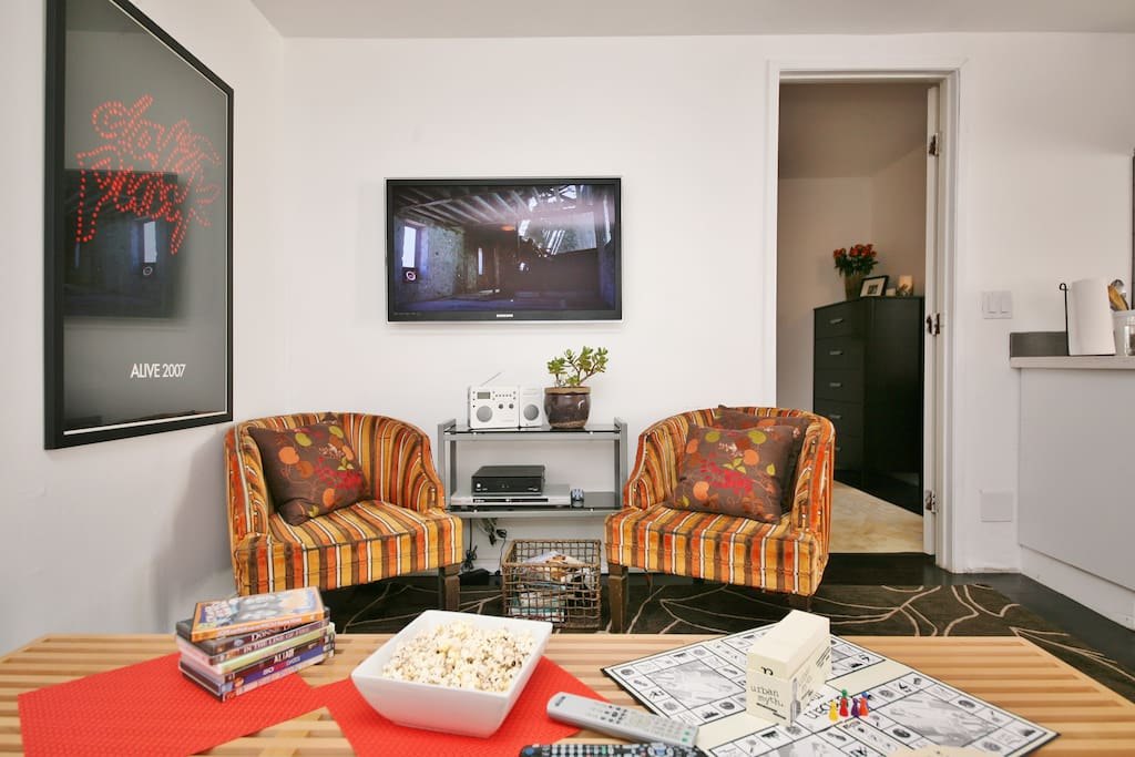 Lounge in! Flip through cable & HBO! Watch a movie, play a board game, or read from the library...