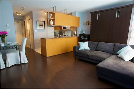 This is cozy studio condo but everything in it with large storage walk in closet which is very convenient for store traveller's suitcases. Also location is very good for food shopping and lots of restaurants near by.