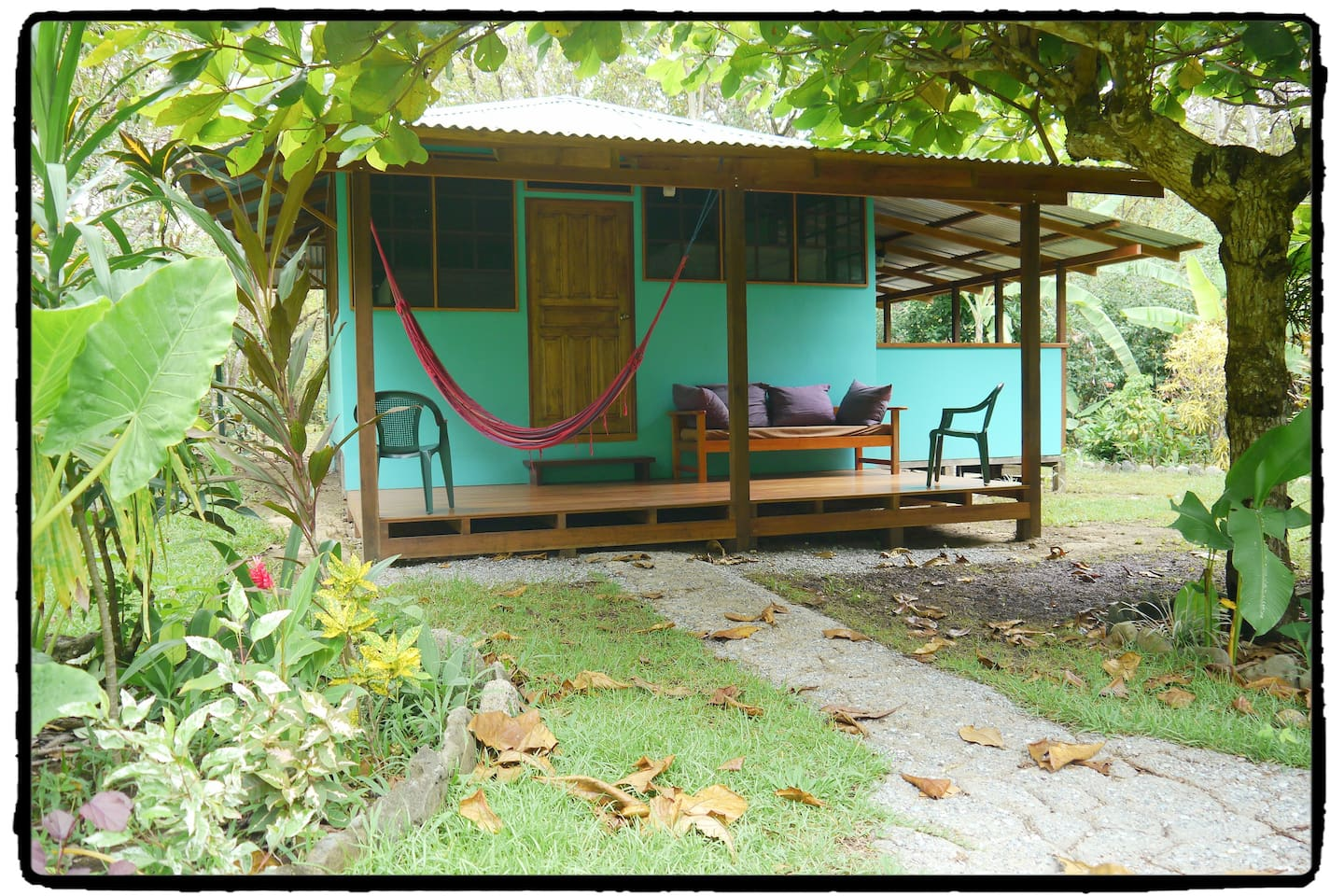 Your private jungle beach cabin, Casa Lapa, at Cabinas Ola Mar ( olamarcr [dot] com ). Casa Lapa houses up to four and includes your own kitchen.