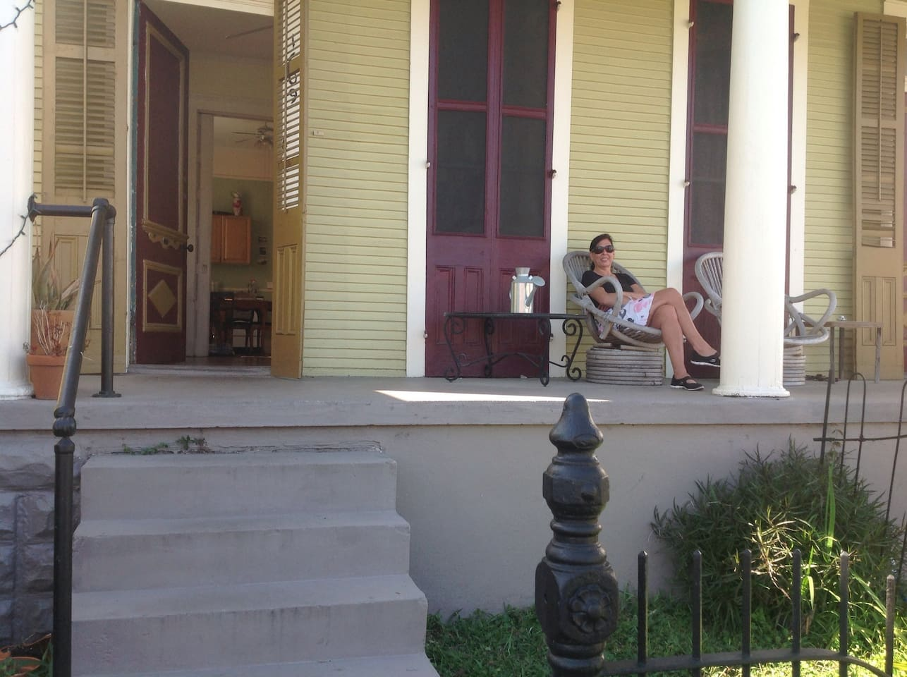 This lovely front porch is perfect for New Orleanians' favorite past time---stoop sitting!