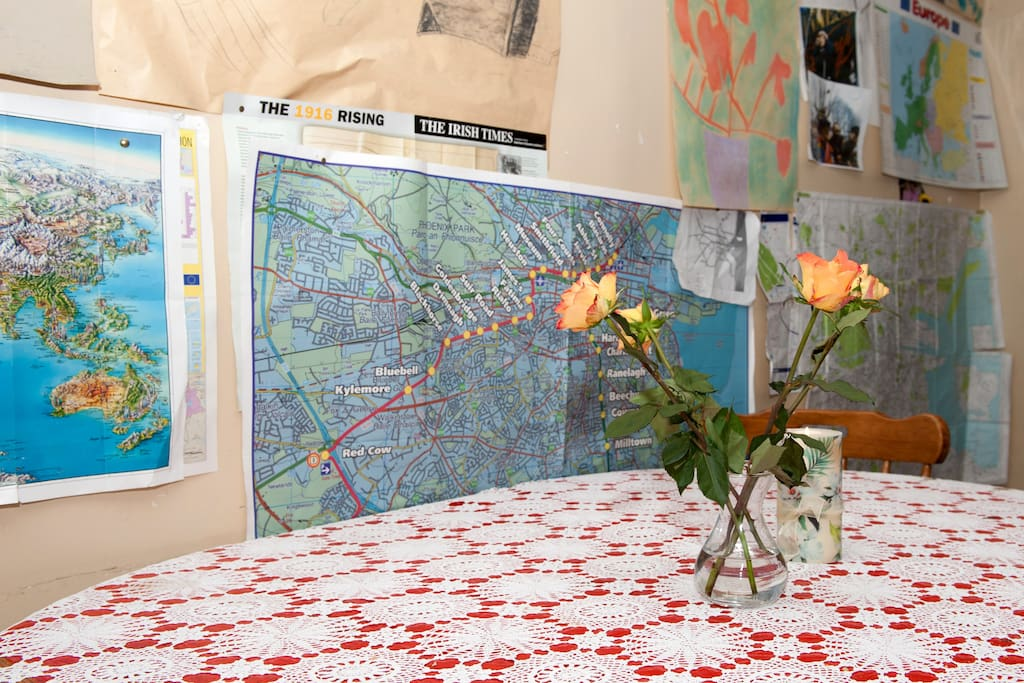fresh flowers and maps