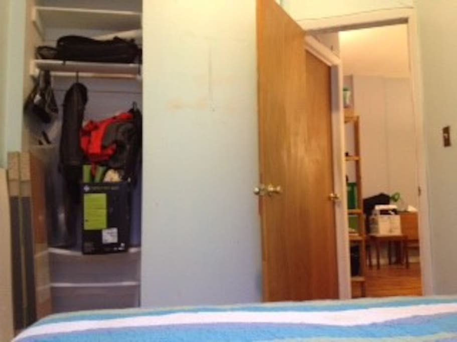 Bedroom (obviously without stuff in closet); room can be reconfigured to your liking with the bed.