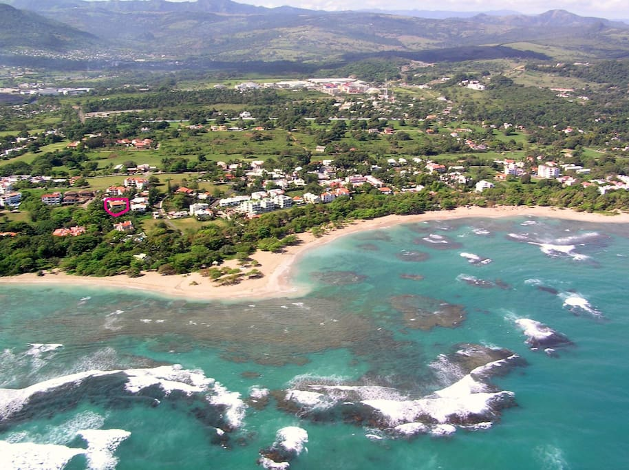 Costambar aerial, our villa marked in the red circle