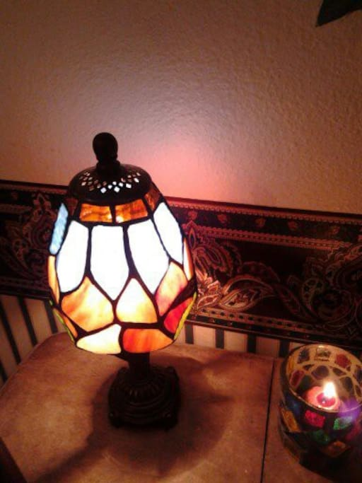 beautiful stain glass lamp-reminder of the old days