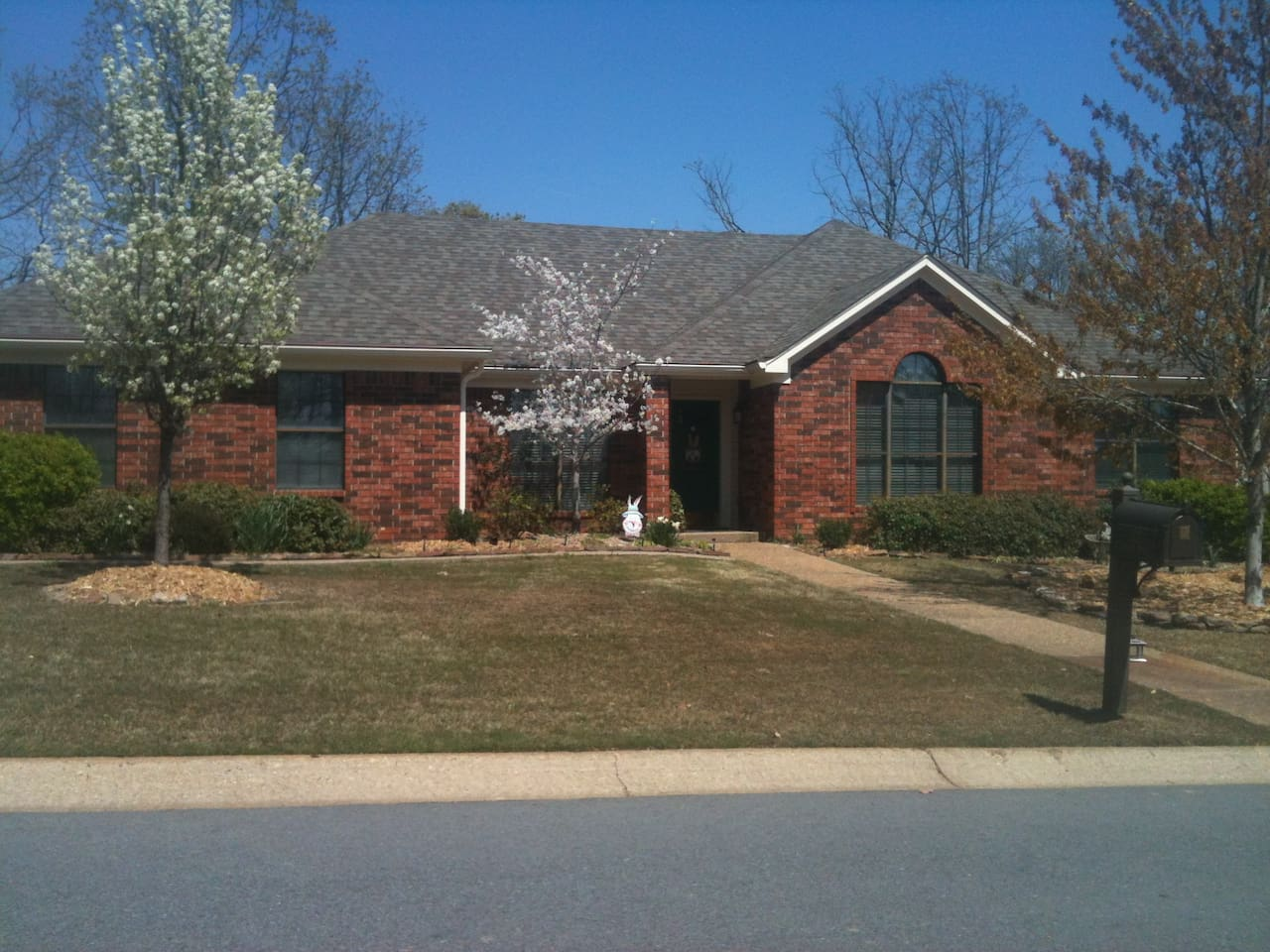 Our home in the Spring when the Cherry and Pear trees are blooming