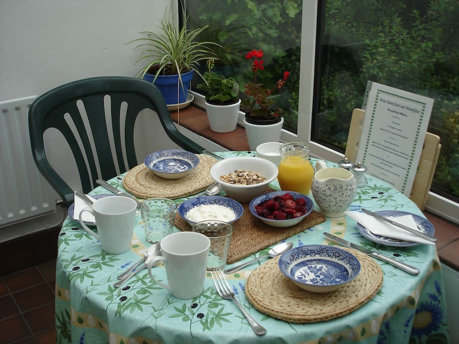 A delicious breakfast in our bright and airy conservatory