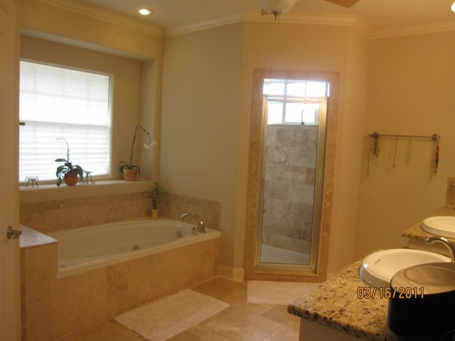 Large bathroom, with Jacuzzi, separate shower room, and double sinks