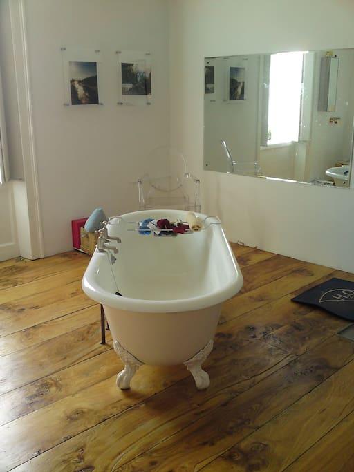 Contemporary Family Bathroom - Roll Top Bath