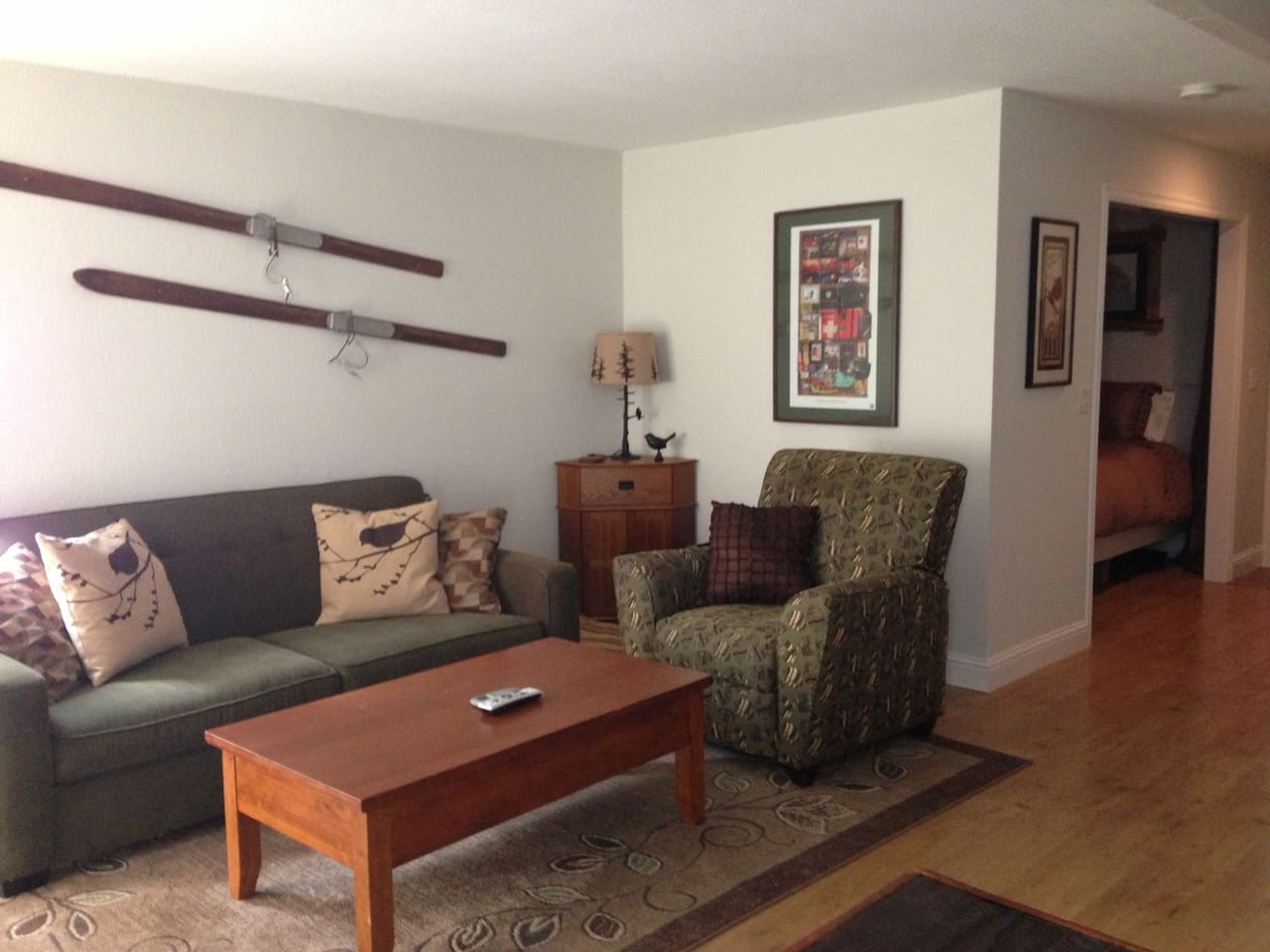 Living area: queen pull out couch and comfy recliner
