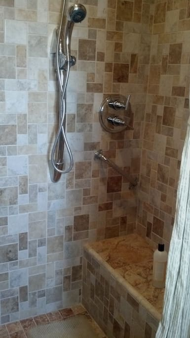 Roll-in or two person shower with bench--off master w/queen