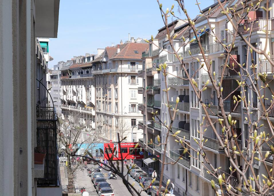 View from balcony, public transport (tram, buses) as well as shops and restaurants nearby