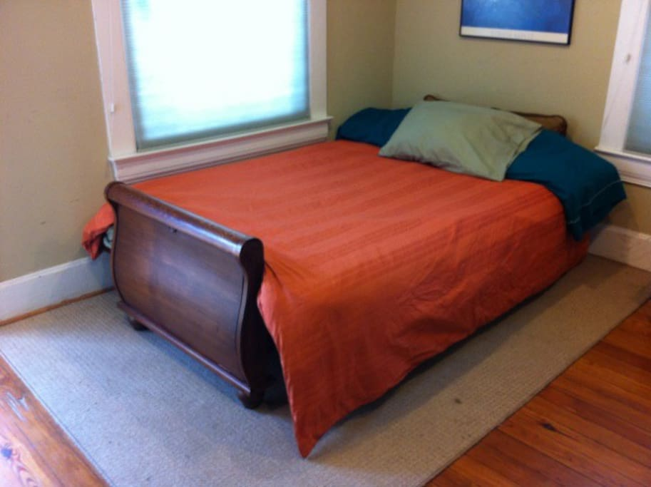 A new queen Tempurpedic mattress and box spring is a dream to sleep on.