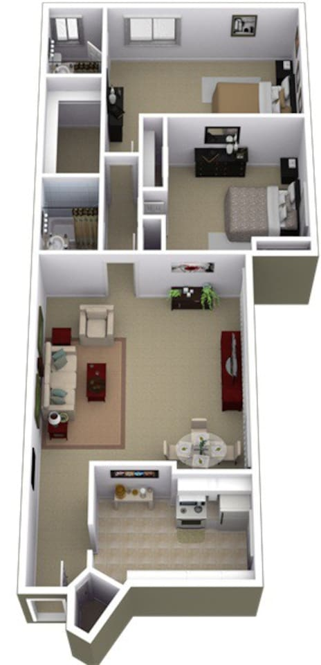Floor plan... Lots of sunlight from windows on the entire right side...