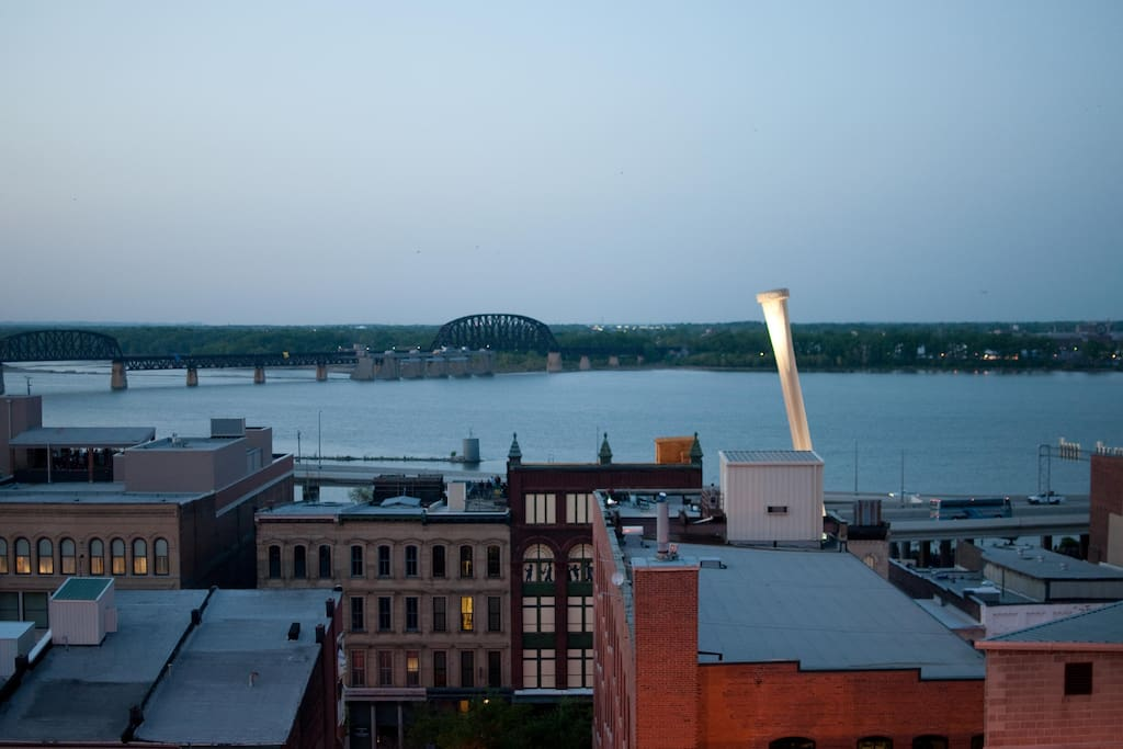 The view from the penthouse riverview loft of the Glassworks Building.