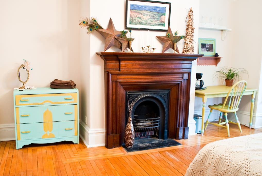 """""""The Chartreuse"""" Fireplace and furnishings"""