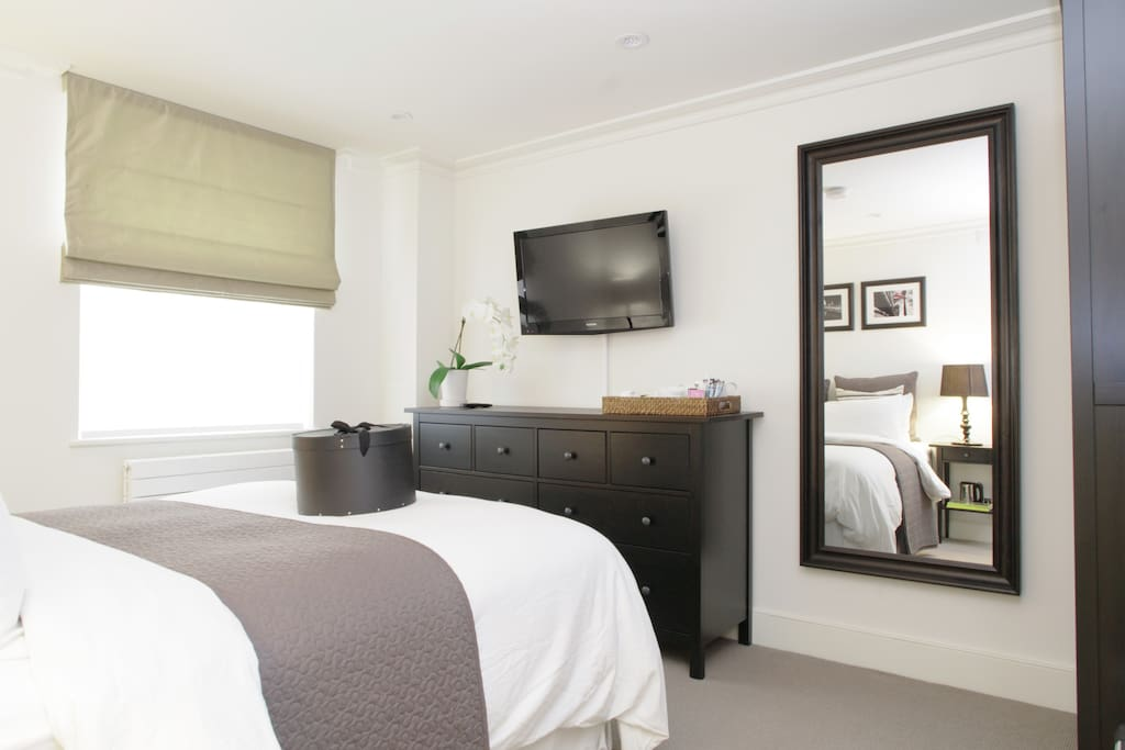 Your room comes with an abundance of storage for your clothes, as well as DVD, tea and coffee facilities and a surprise welcome pack