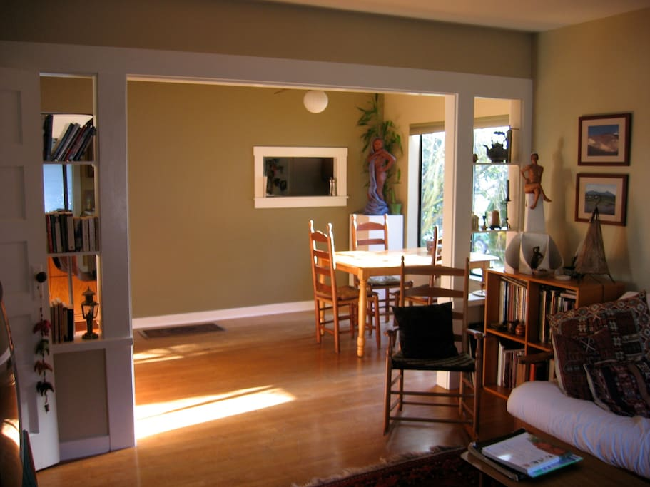 Looking across dining room toward kitchen