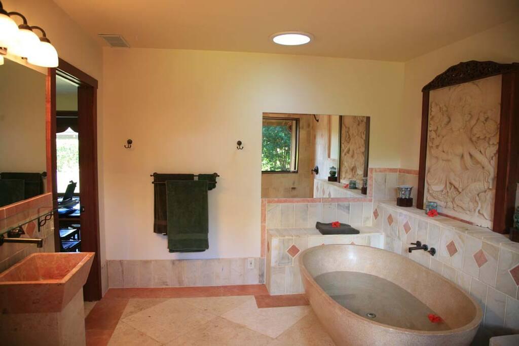 luxury bathroom with great tub