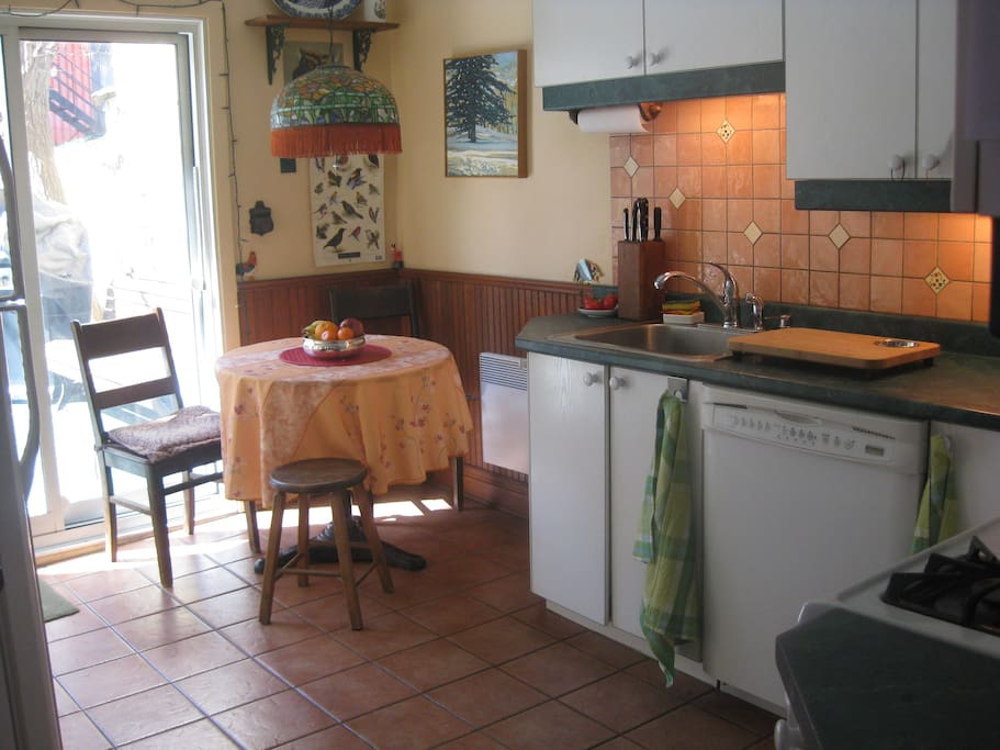 Fully equipped sunny kitchen with deck