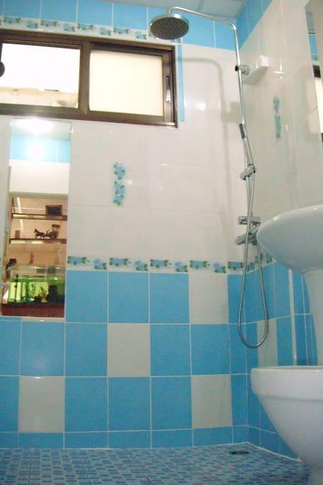 blue shower/wc room