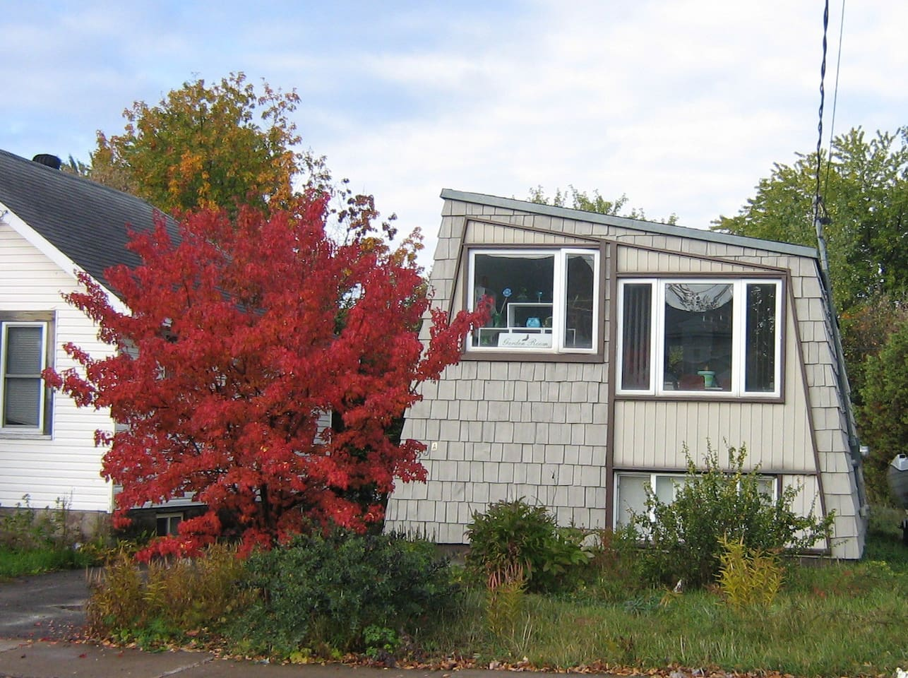 Newly painted grey house. Beautiful small tree is only red in the fall