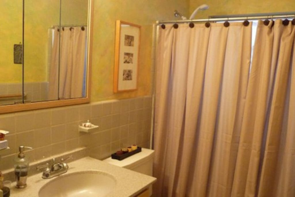 The shower in the hall bath will be used exclusively by The Music Room guest.