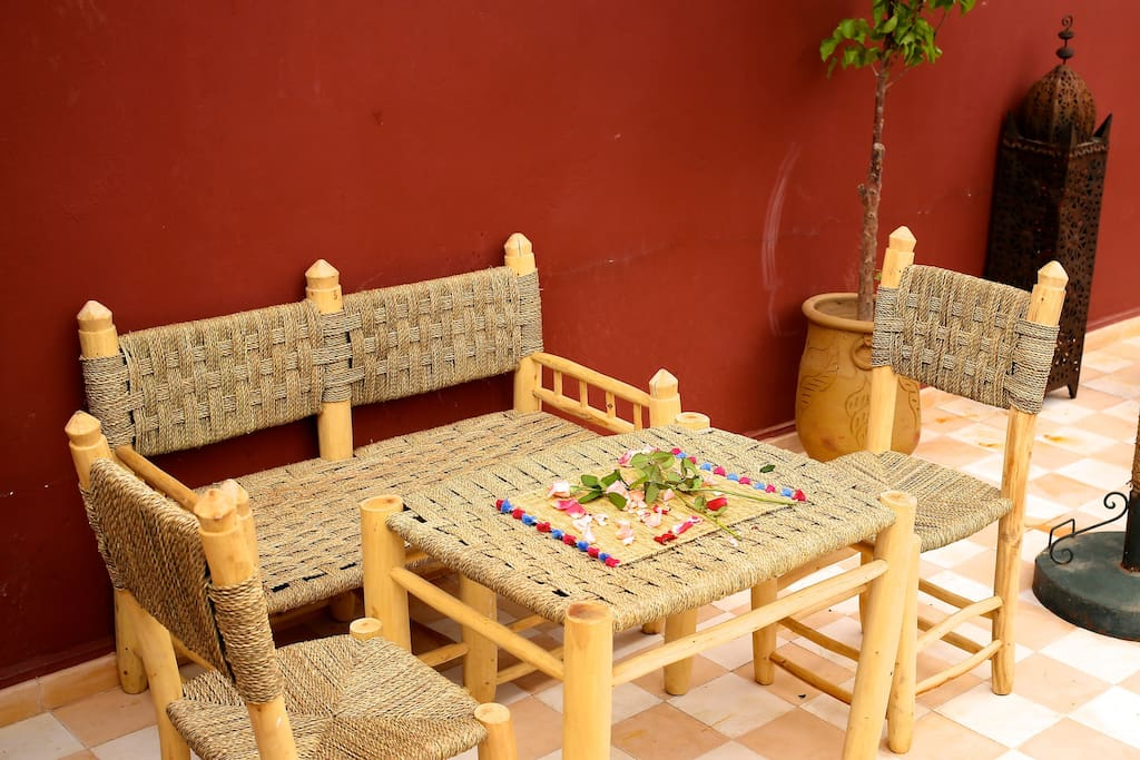 Terrace seating area for breakfast dining