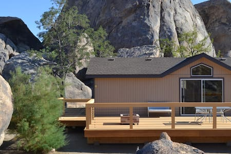 Elegant home amidst towering rocks