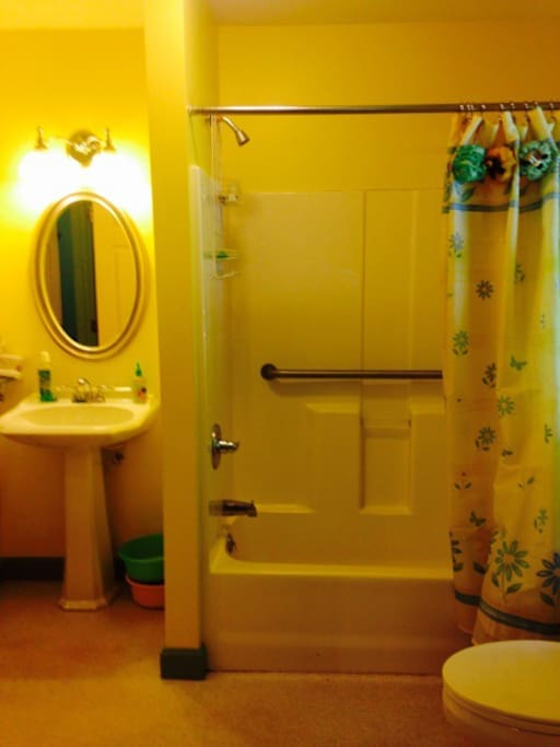 This charming bathroom is exclusively used by the guests from the Lavendar Room.