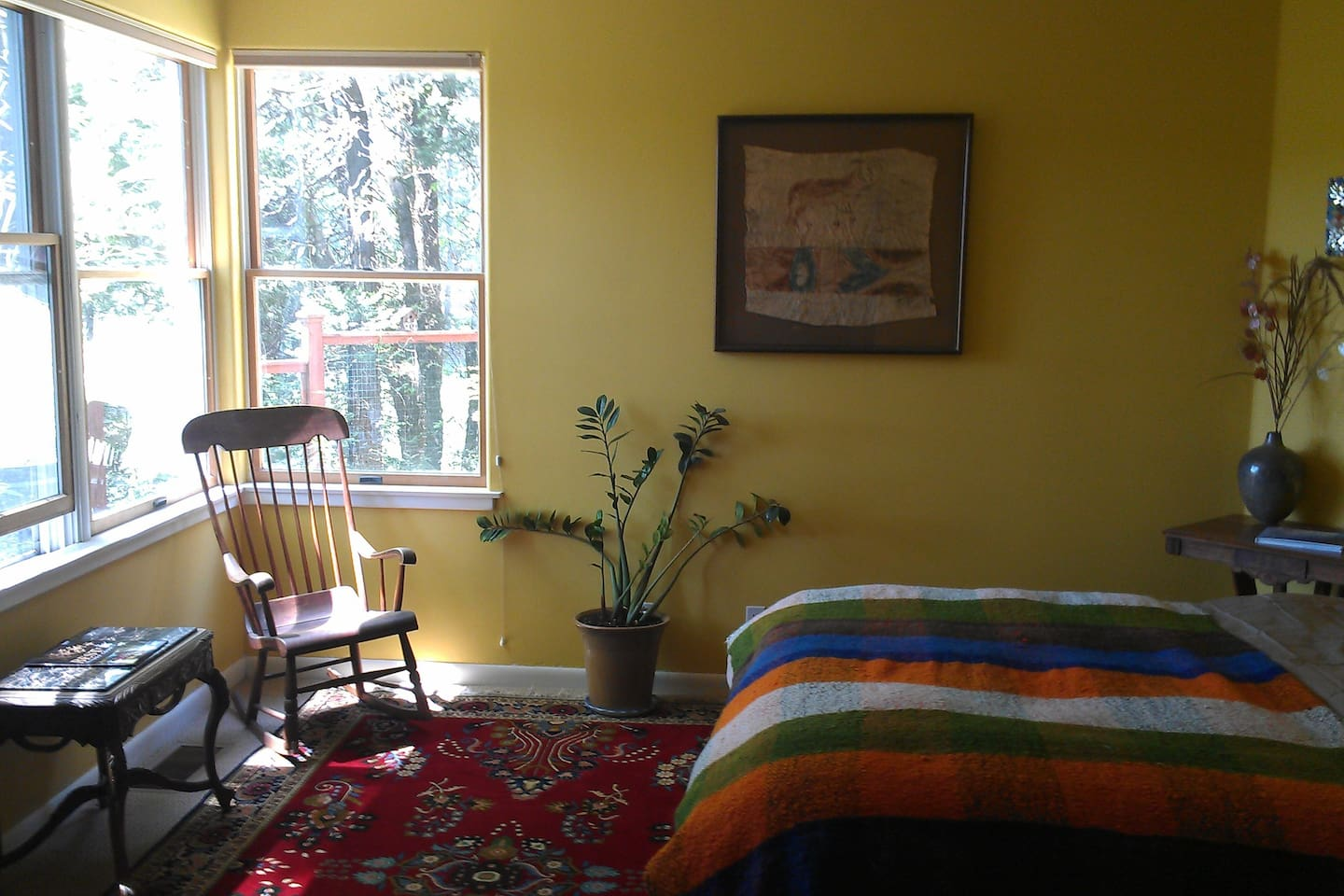 The T.S. Eliot room and our Boston rocker and aboriginal bark painting