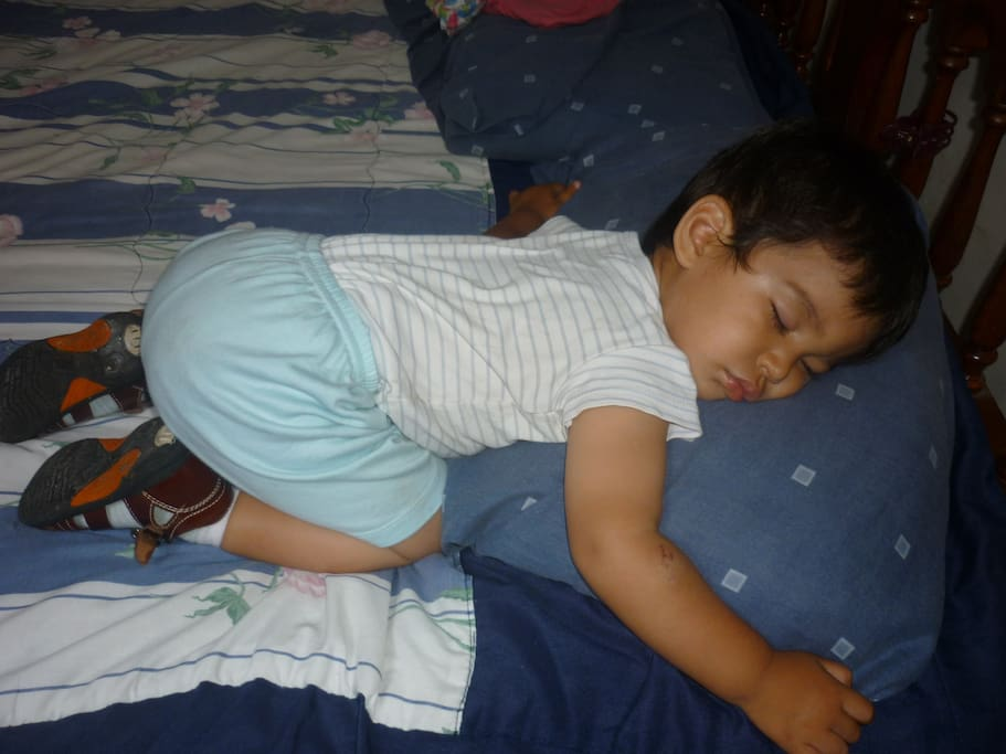 You are gonna sleep like this baby in my house, this is my nephew DIEGO A.