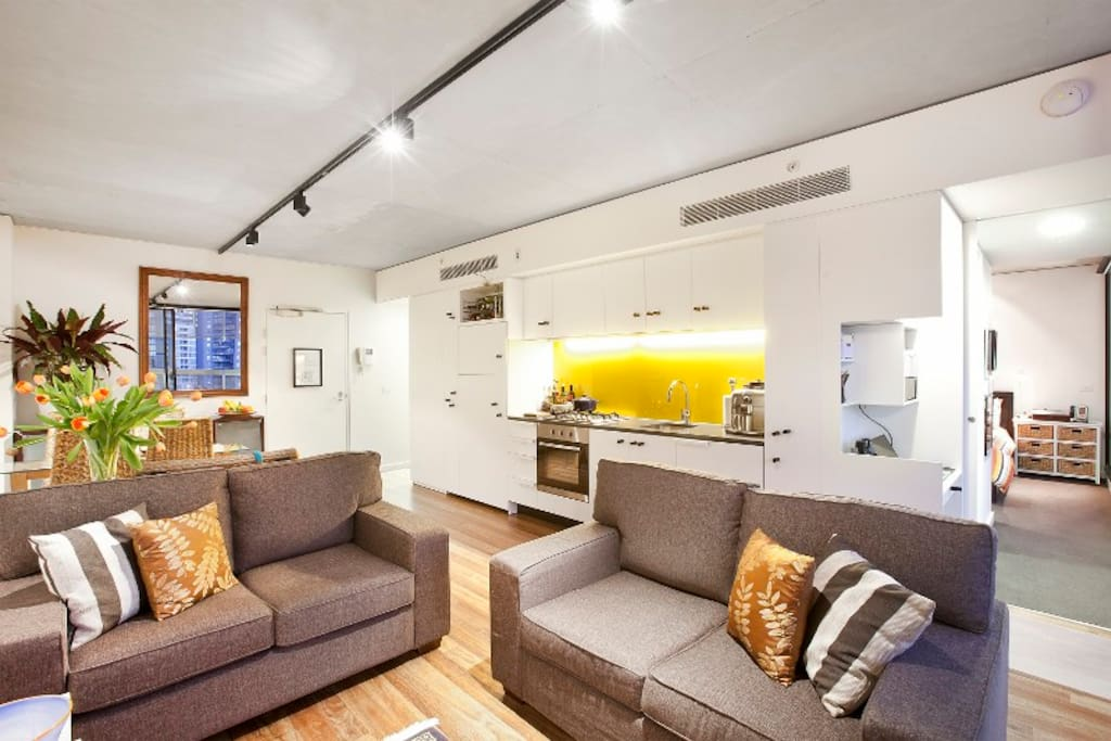 Lounge with rear kitchen space