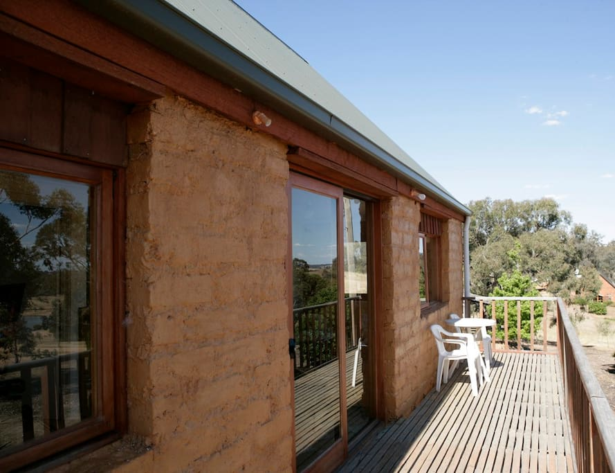 A great balcony overlooking the Sally's Paddock vineyard and Pyrenees ranges