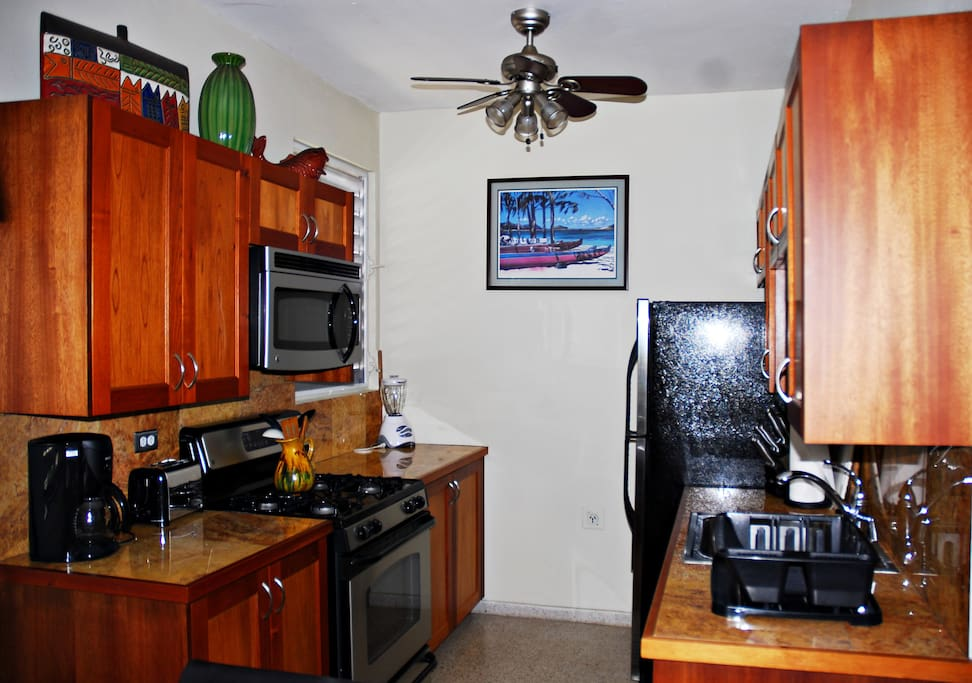 Fully equiped kitchen with custom cabinets and stainless steel appliances.