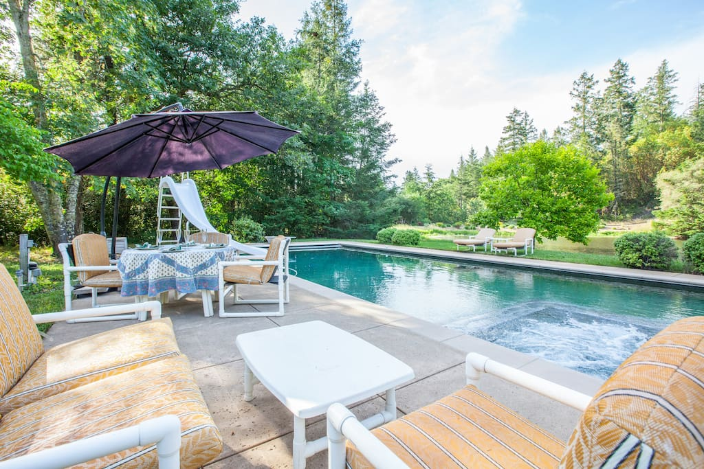 Heated pool overlooks the lake w/seating for 10. Pool has diving board, waterslide & jetted hot tub.