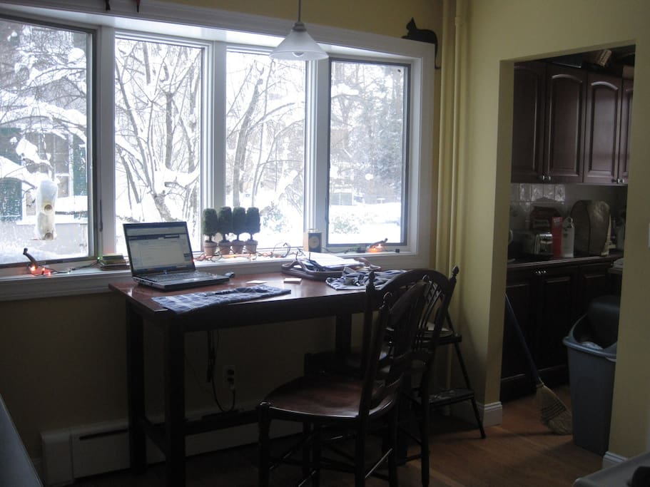 kitchen with winter view