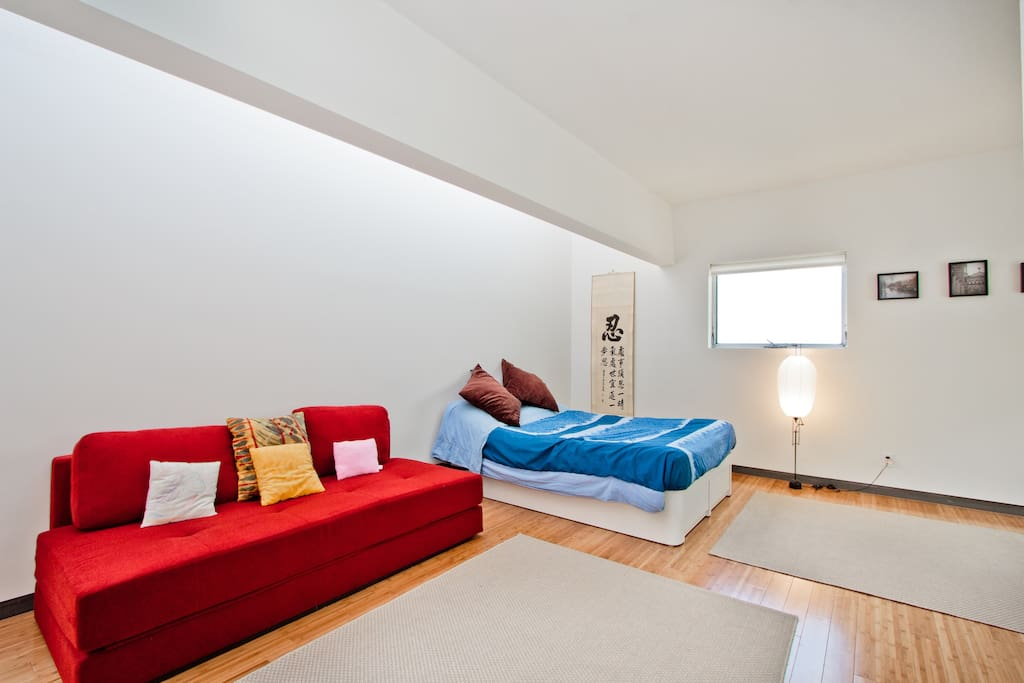 Bedroom and convertible couch lit by skylight above.