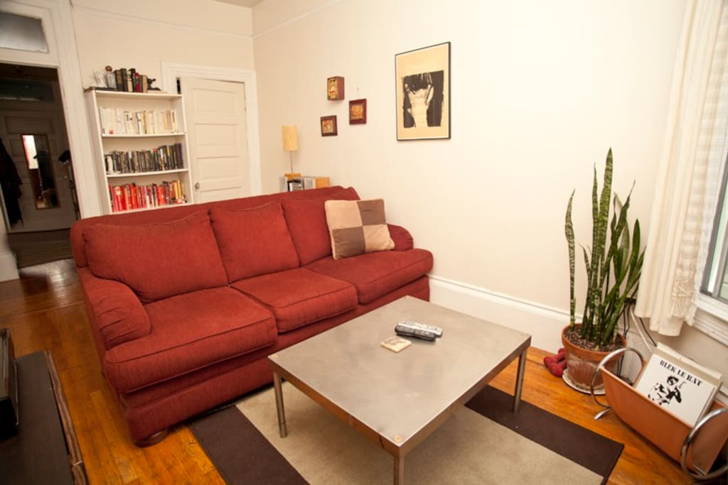 common space with books to read and cable t.v. to watch