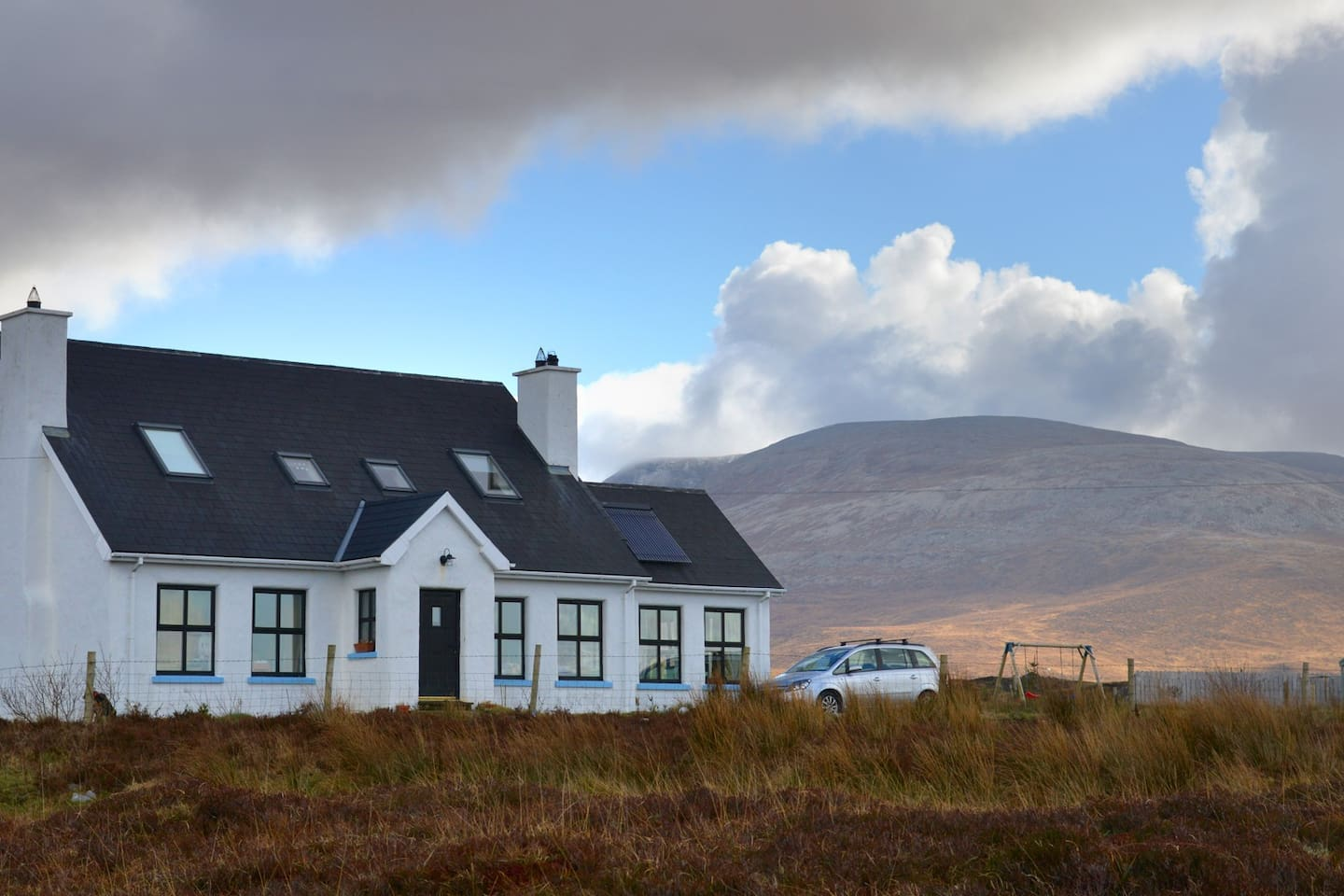 At the foot of Muckish mounain in County Donegal, 10 mins' drive or an hour's walk from the sea.