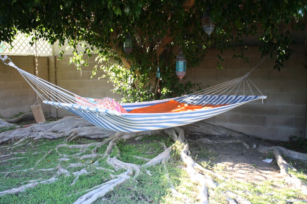 Enjoy relaxing or reading a book in our hammock