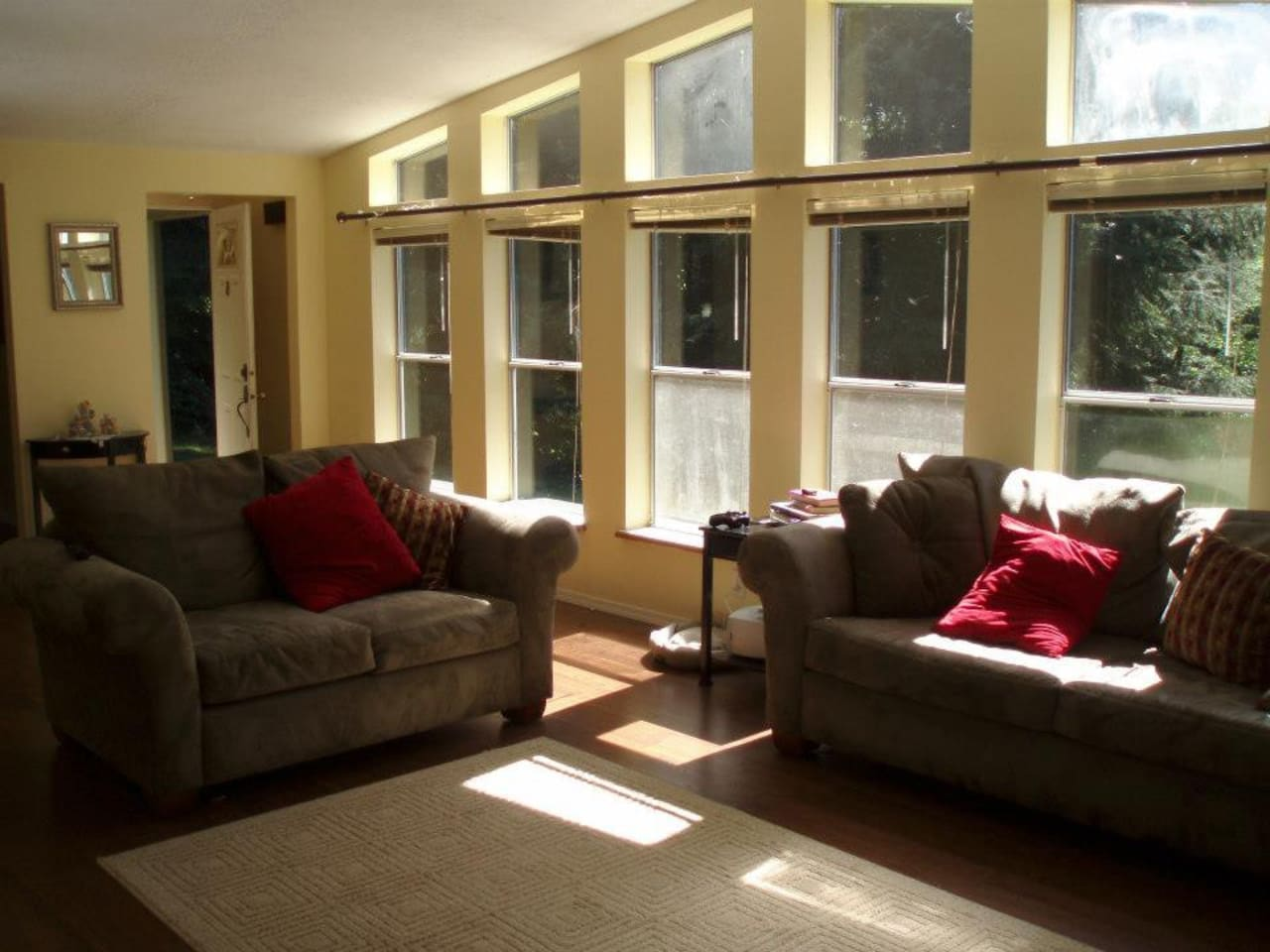 The living room is especially relaxing with its large windows that let in the sun and surrounding forest.