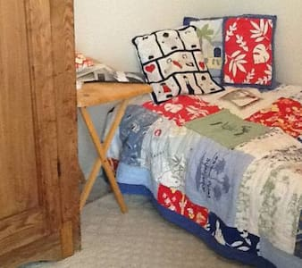 A tiny room with a small fold away bed. Good for someone on a budget who just needs to crash for the night. It has no luxuries, only fits one person, and is downstairs, apart from the house, and the guest needs to come up to use the bathroom.