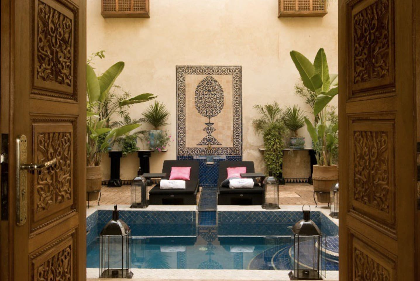 Le Patio is the heart of the Riad with the Pool, and Flowers.