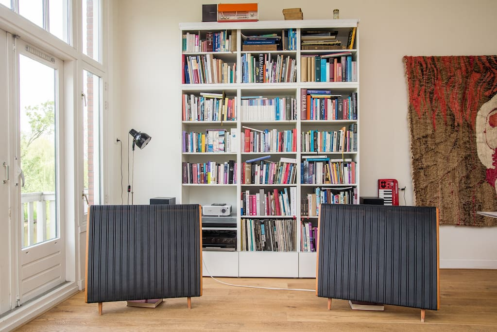 A small library and superb audio equipment