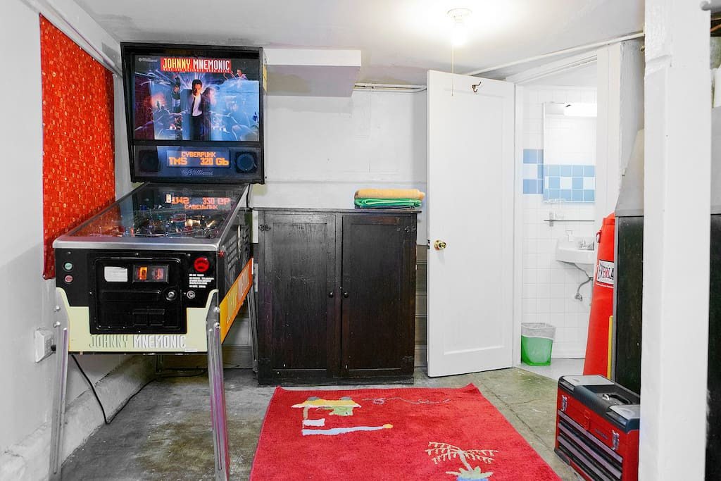 working pinball machine + newly renovated half bath